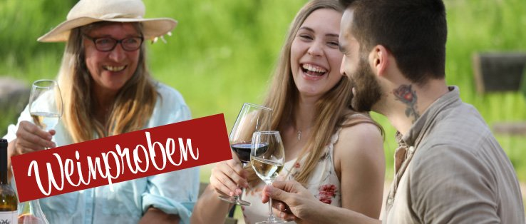 Freunde trinken gemeinsam Wein und lachen